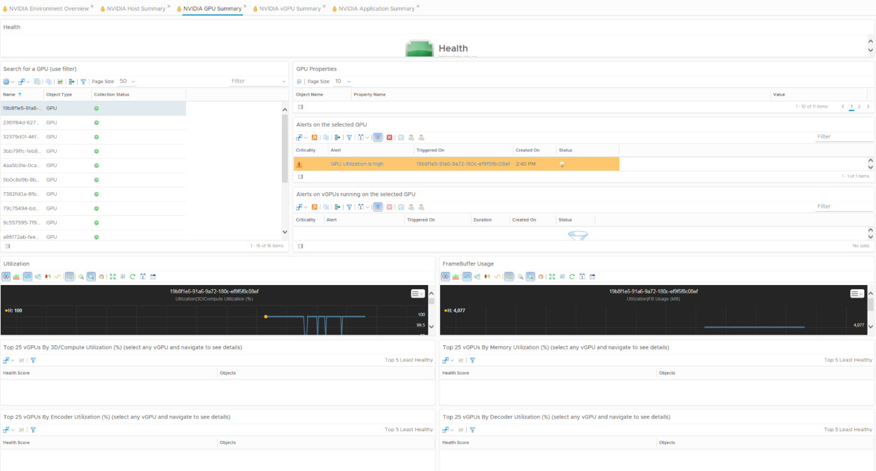 NVIDIA Virtual GPU Management Pack for vRealize Operations