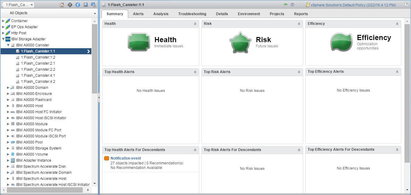 IBM Storage Management Pack for VMware vRealize Operations